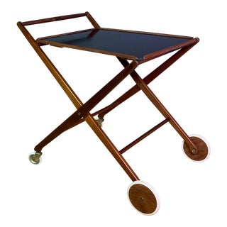 1970s Teak and Black Laminate Serving Trolley For Sale
