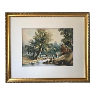 Antique English Watercolor Figure in a Landscape 19th Century For Sale