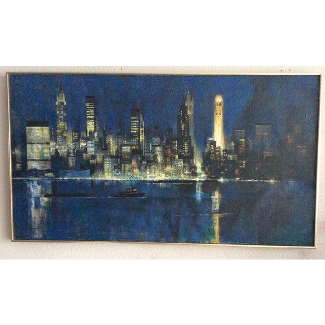 "Black Mid Century Modern ''New York Skyline"" Oil on Canvas by Dean Ellis For Sale - Image 8 of 8"