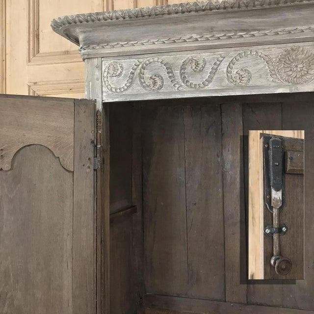 19th Century Country French Provincial Whitewashed Armoire For Sale - Image 10 of 13