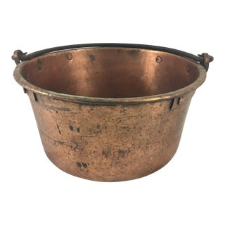19th Century French Copper Medium Cauldron With Wrought Iron Handle