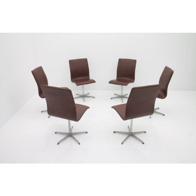 Mid-Century Modern 6x Arne Jacobsen Oxford Chairs by Fritz Hansen Denmark For Sale - Image 3 of 12