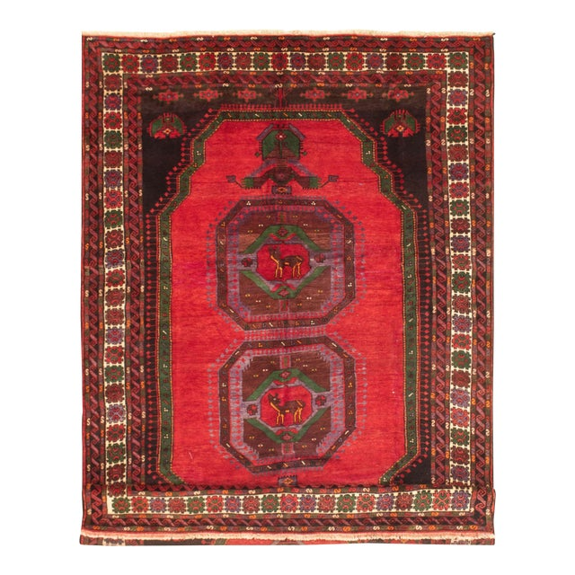 Hand-Knotted Turkish Red Rug For Sale