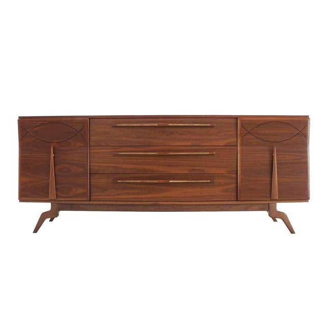 Brown Outstanding Mid-Century Walnut Dresser with Heavy Sculptural Hardware For Sale - Image 8 of 8