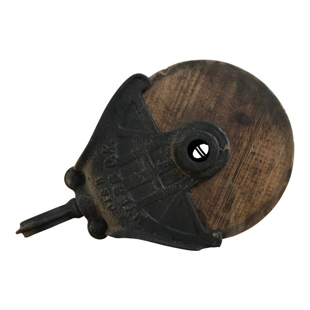 Antique Cast Iron and Wood Pulley For Sale