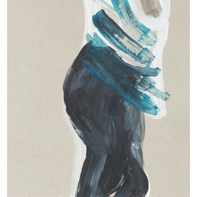 "Entitled ""Blue Stripes I"", this 2018-2019 gouache on paper abstracted figure is by contemporary Mendocino/Bay Area artist,..."