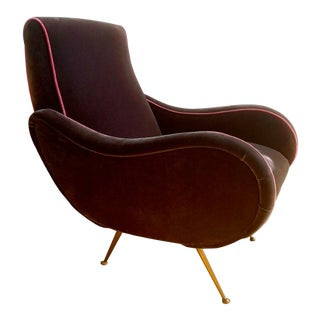 Restored Mid-Century Modern Italian Velvet Armchair For Sale