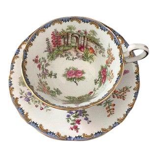 Vintage Aynsley Bone China Garden Gate Tea Cup & Saucer For Sale