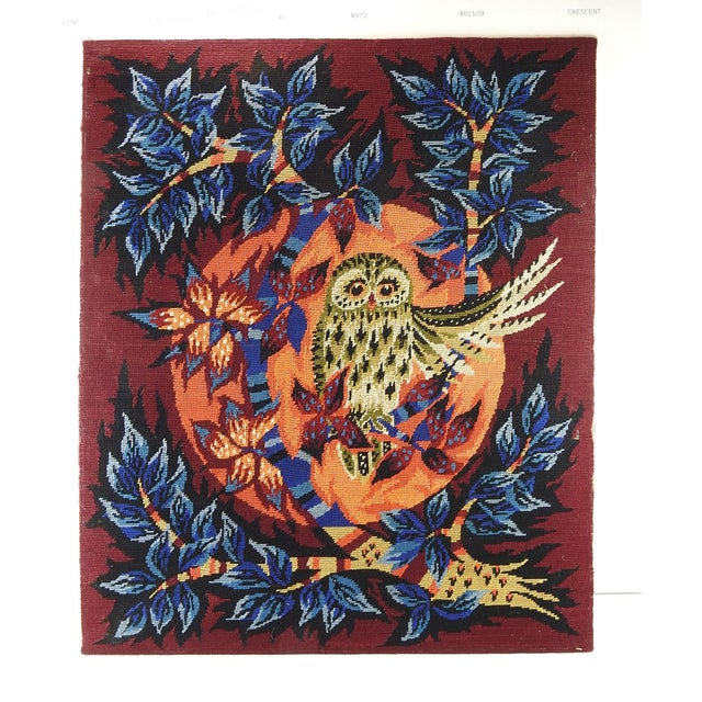 Children's Mid Century Modern Owl Needlepoint Tapestry For Sale - Image 3 of 3