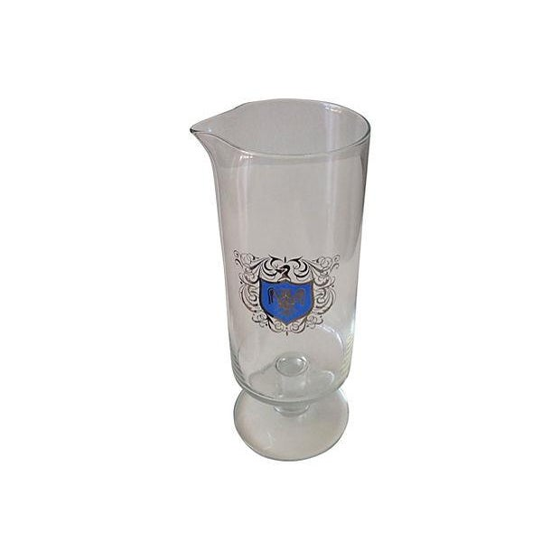 Footed Cocktail Mixer With Silver & Blue Crest - Image 3 of 4