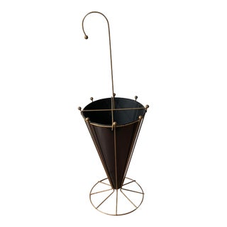 Vintage Black Metal and Brass Umbrella Stand