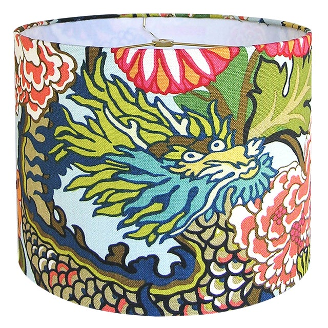 Custom Aqua Floral Dragon Drum Lamp Shade For Sale