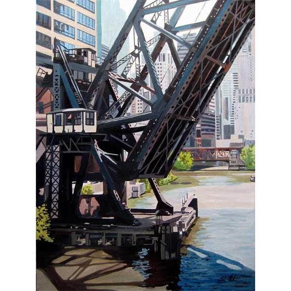 Realism The Kinzie St Railroad Bridge Print For Sale - Image 3 of 3