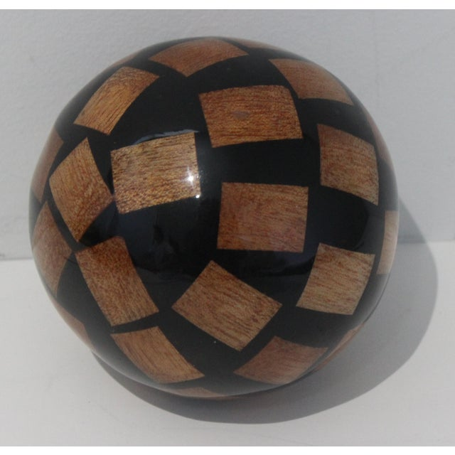 Stylish Vintage Decorative 4-inch Spheres of Lacquered Random Mahogany Chips - 5 are available The Last photo shows...