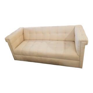Hollywood Regency Custom Cream Tufted Sofa For Sale