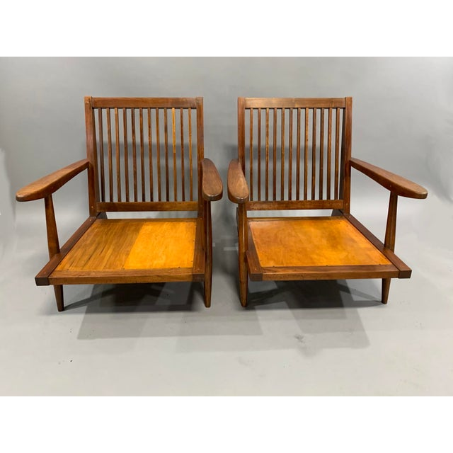 George Nakashima Pair of Spindle Back Lounge Chairs For Sale - Image 9 of 13