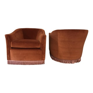 1970s Vintage Rust Color Velvet Swivels Chairs- A Pair For Sale