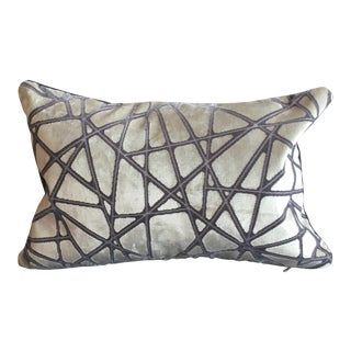Abstract Expressionism Holly Hunt Silver Streak Silk Velvet Lumbar Pillow (With Dark Gray Velvet Backing)