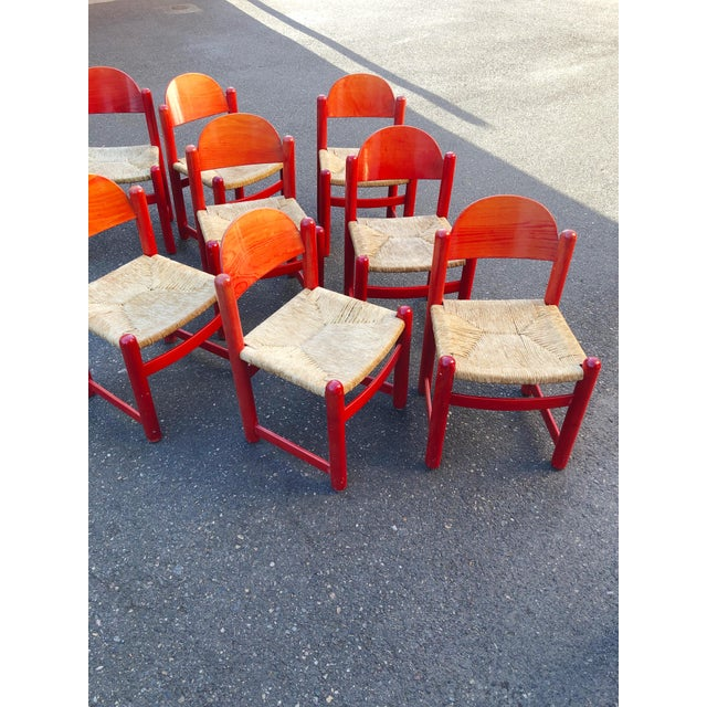 Modern Hank Lowenstein Rush Seat Dining Chairs Made in Italy- Set of 8 For Sale - Image 3 of 13