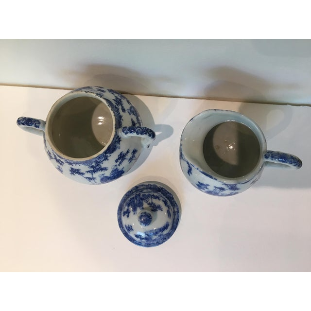Vintage Chinoiserie Blue and White Creamer and Lidded Sugar Bowl - Set of 2 For Sale In Washington DC - Image 6 of 8