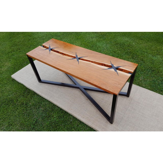 """Handcrafted and designed by seller. Live edge cherry table with inlaid with ebonzied walnut """"x""""'s with a lightning bolt..."""