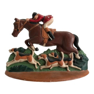 Vintage Cast Iron Equestrian Horse Fox Hunt Door Stop For Sale