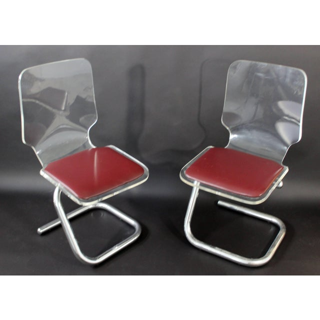 Hill Manufacturing Co. Mid-Century Modern Set of Four Lucite Dining Chairs by Luigi Bardini for Hill For Sale - Image 4 of 10