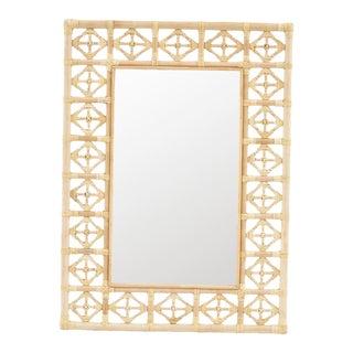 Rectangular Diamond Pattern Mirror, Beige, Rattan For Sale