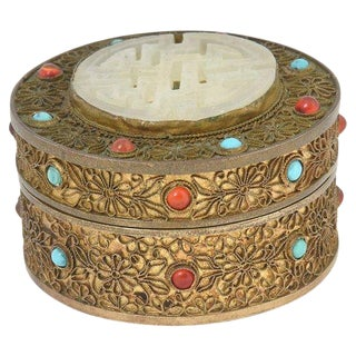 Early 20th Century Antique Asian Jeweled Gilt-Brass Trinket Box For Sale