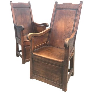 18th Century Elm English Jacobean Wainscot Armchairs - a Pair For Sale