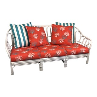 Vintage Rattan Sofa in High Gloss White For Sale