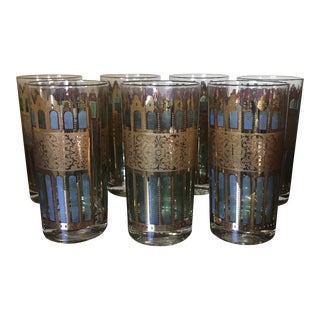 1960s Mid-Century Italian Cera Capri Stained Glass Tumblers - Set of 7 For Sale