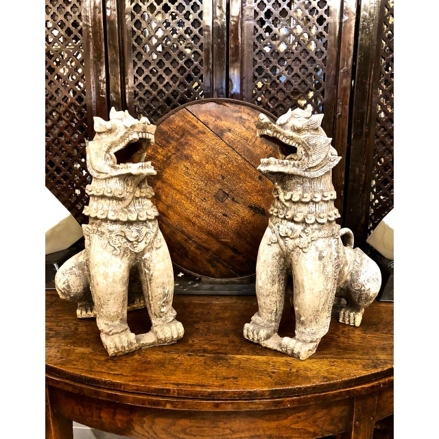 Antique Chinese Terra Cotta Foo Dogs-a Pair For Sale - Image 12 of 13