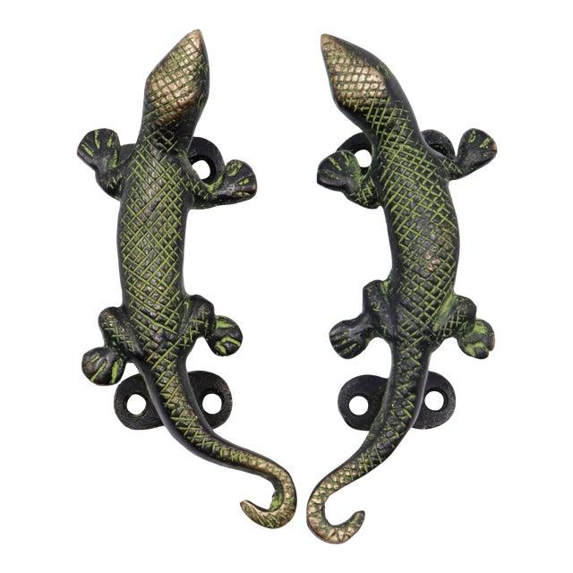 Green Brass Lizard Door Handles - a Pair For Sale