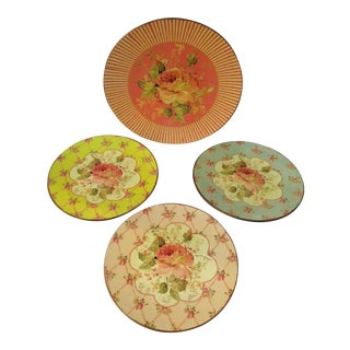 1990s Two's Company Cottage Rose Plates - Set of 4 For Sale