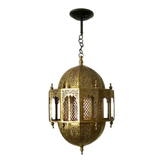 Vintage Moroccan Pierced Brass Lantern Pendant Chandelier For Sale
