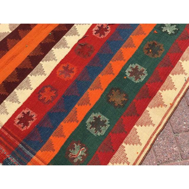 Pumpkin Colorful Vintage Kilim Rug For Sale - Image 8 of 10