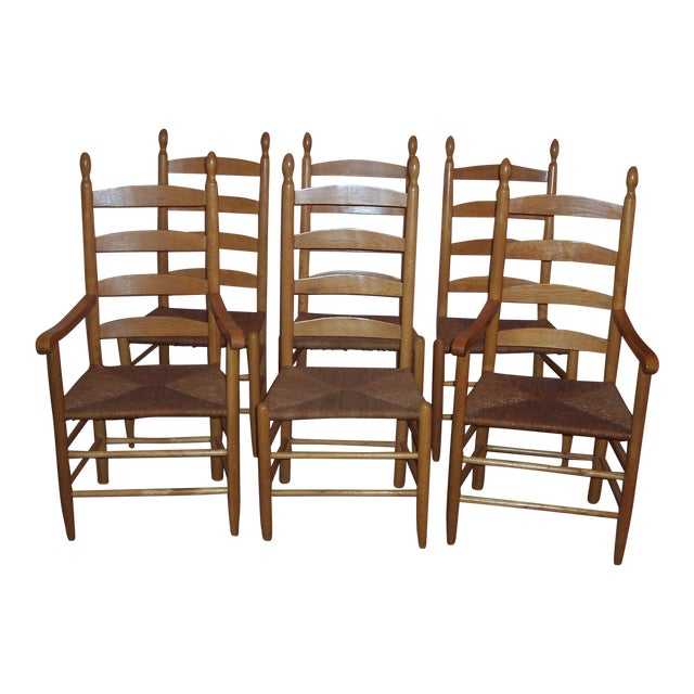 Set of 6 Ladder Back Chairs - Image 1 of 6
