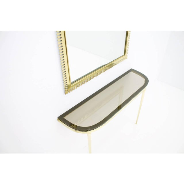 Gold Solid Brass and Glass Wall Console, 1960s For Sale - Image 8 of 10