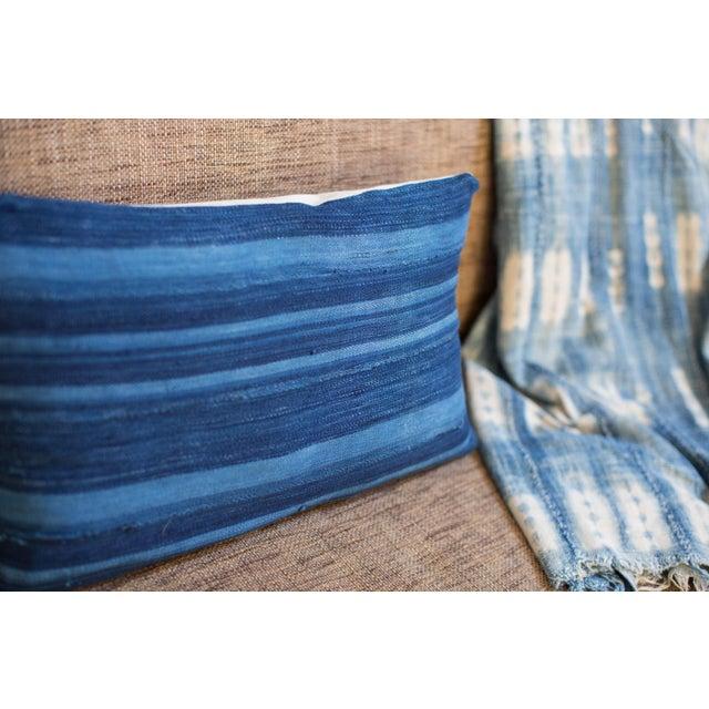 Dark Blue Striped Indigo Lumbar Pillow - Image 4 of 6