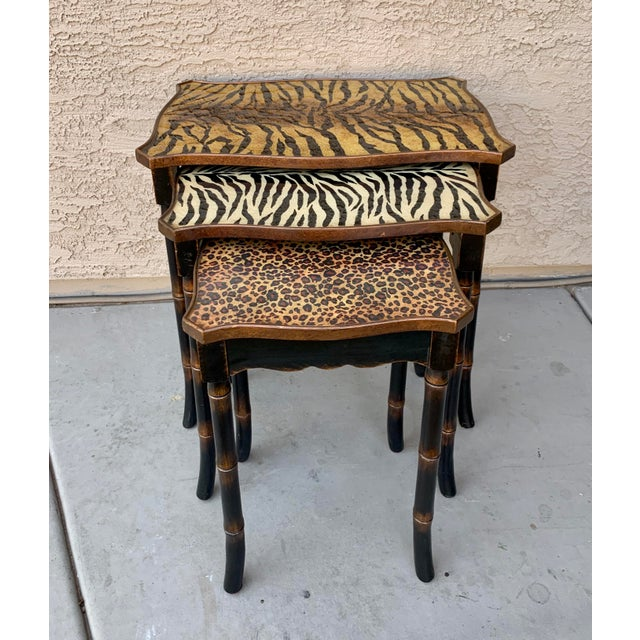 Hollywood Regency Safari Style Faux Bamboo Resin Nesting Tables - Set of 3 For Sale - Image 3 of 12