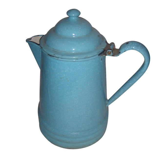 Rustic Country Blue Enamel Pitcher - Image 1 of 5