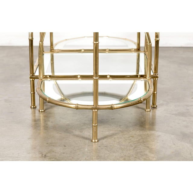 Hollywood Regency Maison Baguès Brass Faux Bamboo Three-Piece Coffee Table - 3 Pieces For Sale In Birmingham - Image 6 of 10