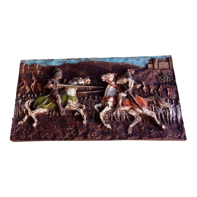 Medieval Roman 1960's J. Segura Wall Sculpture Knight Joust Lances Renaissance Middle Ages For Sale