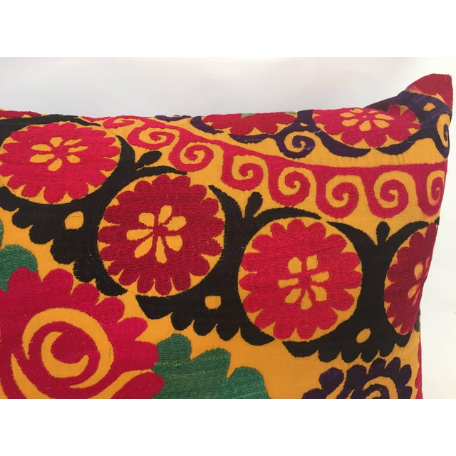 Black Large Vintage Colorful Suzani Embroidery Throw Pillow For Sale - Image 8 of 13