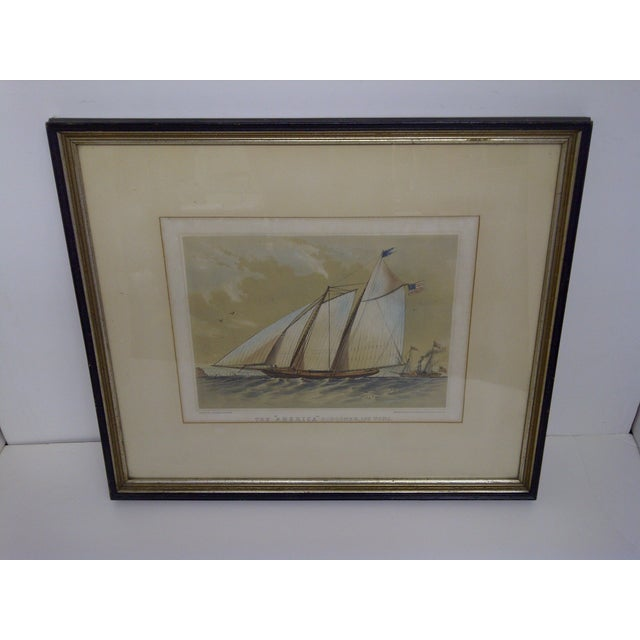 THE AMERICAN SCHOONER -- 170 TONS -- Circa 1850 Original Print -- Printed And Published By -- Stannard & Dixon Framed /...