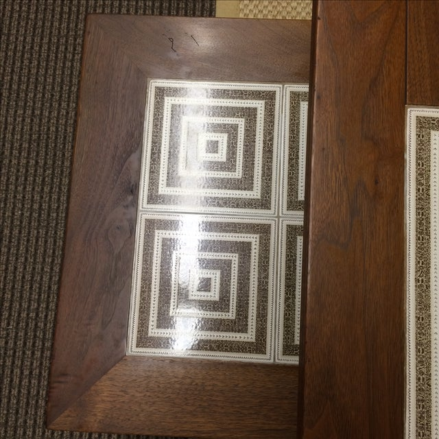 MCM Tile & Walnut Stacking Tables - Image 5 of 9