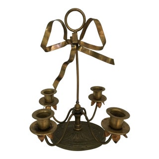20th Century Americana Brass Candelabra With Bow