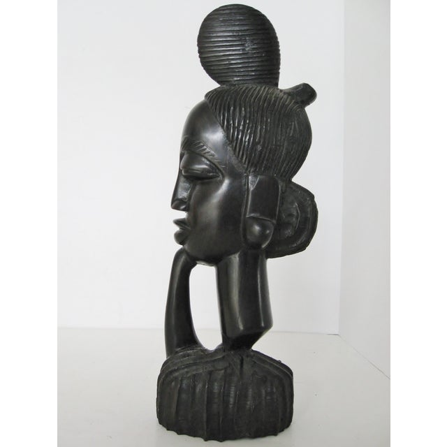 Vintage Hand-Carved Ebony Bust - Image 4 of 8