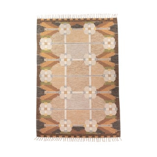 "Vintage Swedish Mid Century Handwoven Flat Weave Rug-5'6'x7'8"" For Sale"
